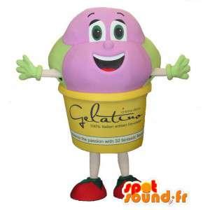 Mascot Eiskugeln rosa und grün.Kostüm Eis