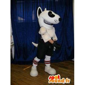 Mascot perro blanco y negro en ropa deportiva - MASFR005621 - Mascotas perro