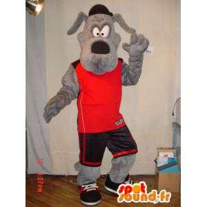 Grå hund maskot kledd i røde sport - MASFR005622 - Dog Maskoter