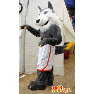 Grijze en witte wolf mascotte. harige wolf kostuum