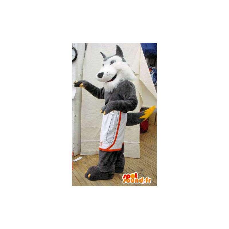 Mascotte de loup gris et blanc. Costume de loup poilu - MASFR005624 - Mascottes Loup