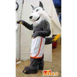Mascot grau und weiß Wolf.Hairy Wolf Kostüm - MASFR005624 - Maskottchen-Wolf