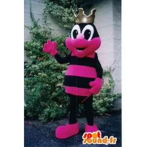 Maskotti musta ja pinkki hyönteinen. Puku värikäs muurahaisia