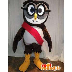 Gufo mascotte con gli occhiali. Owl costume - MASFR005629 - Mascotte degli uccelli