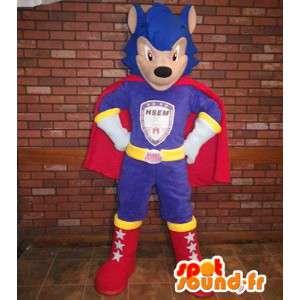 Mascote super-herói, lutador no equipamento colorido - MASFR005630 - super-herói mascote