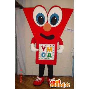 Mascot czerwony w kształcie Y. kostium Y