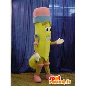 Mascotte en forme de crayon de papier jaune avec une gomme