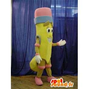 Mascotte a forma di matita di colore giallo con una gomma - MASFR005639 - Matita mascotte
