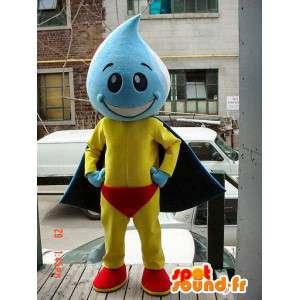 Mascot grande gota azul e amarelo - MASFR005641 - super-herói mascote