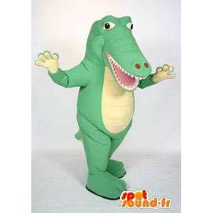 Mascot cocodrilo verde gigante.Traje del cocodrilo