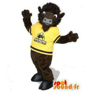 Mascotte de buffle marron en maillot jaune