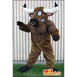 Mascot bufalo marrone muscolare - MASFR005651 - Mascotte toro