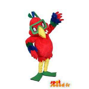 Colorful parrot mascot with a diving mask - MASFR005655 - Mascots of parrots