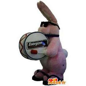 Roze konijn mascotte van het merk Duracell - MASFR005656 - Mascot konijnen