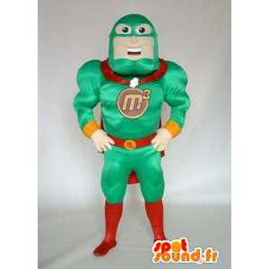 緑の衣装のスーパーヒーローのマスコット。レスラーコスチューム-MASFR005664-スーパーヒーローのマスコット