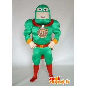 Superhjälte maskot i grön outfit. Wrestler kostym - Spotsound
