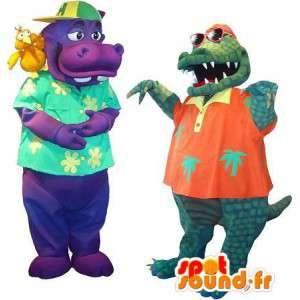 Hipopótamo e crocodilo mascote veranistas. Pack of 2