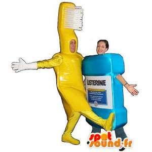 Maskottchen gelbe Zahnbürste und Mundwasser.Packung mit 2 - MASFR005676 - Maskottchen von Objekten