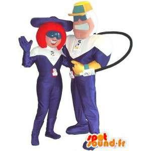 Mascots couple purple and white combination - MASFR005677 - Mascots unclassified