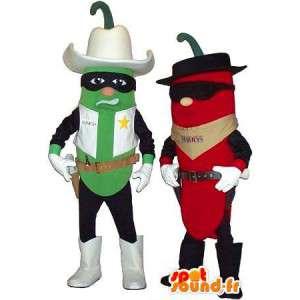 Maskottchen grünem Pfeffer und Paprika in Cowboy gekleidet - MASFR005679 - Maskottchen von Gemüse