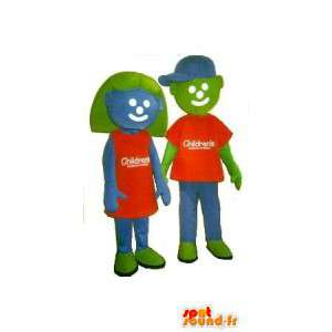 Mascottes groen kids, blauw en oranje. Pak van 2 - MASFR005680 - mascottes Child