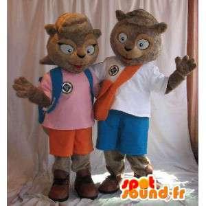 Par maskot kledd ekorn. Pakke med 2 - MASFR005689 - Maskoter Squirrel