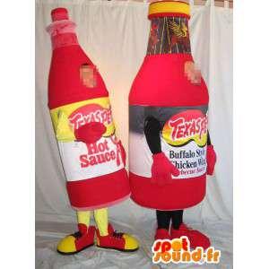 Mascottes de bouteilles en verre de sauce piquante. Pack de 2 - MASFR005690 - Mascottes Bouteilles