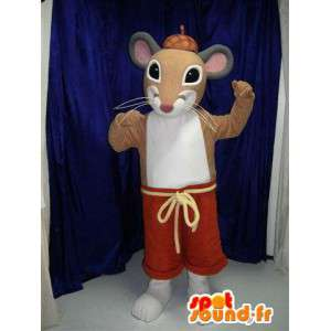 Mascotte de rat marron en short rouge. Costume de souris