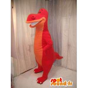 Roter Dinosaurier-Maskottchen und orange.Dinosaurier-Kostüm - MASFR005694 - Maskottchen-Dinosaurier