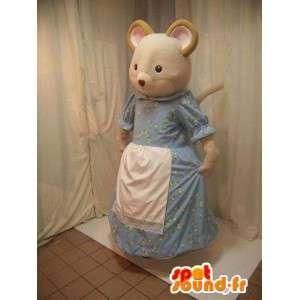Béžová myš maskot v modrých šatech s bílou zástěrou
