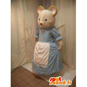 Beige mouse mascot in blue dress with a white apron