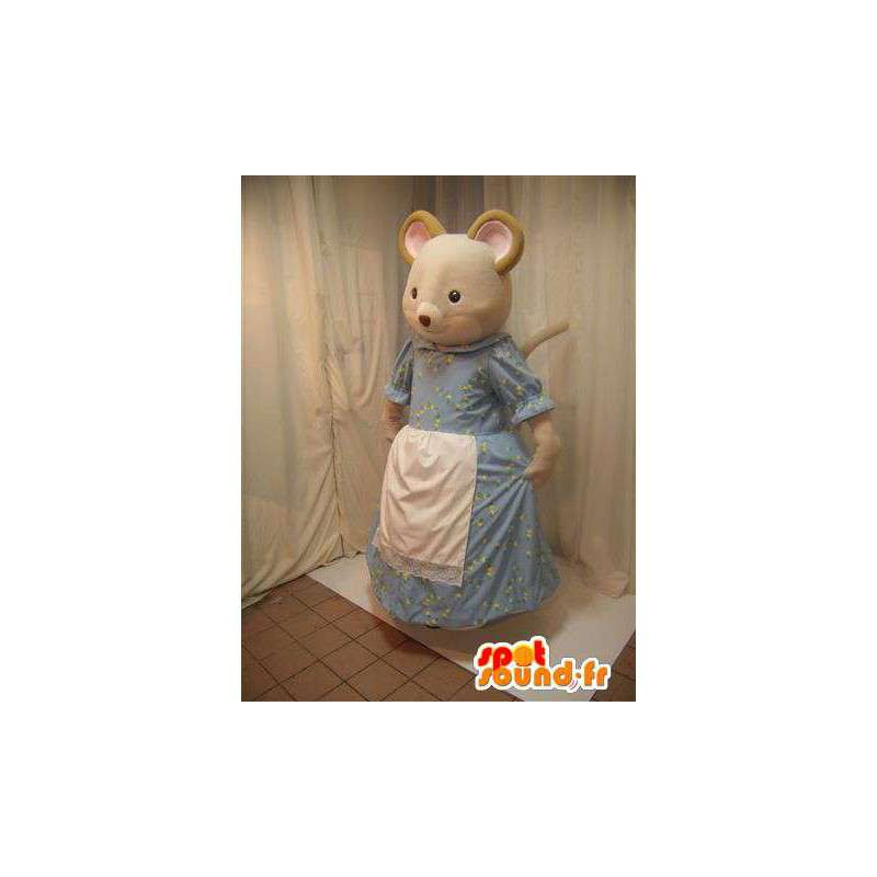Beige mouse mascot in blue dress with a white apron - MASFR005698 - Mouse mascot