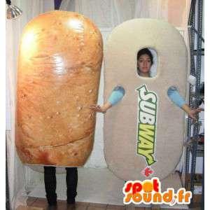 Mascotte de sandwich Subway géant. Costume de sandwich
