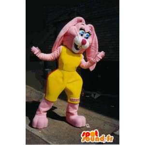 Maskotti vaaleanpunainen jänis keltaisella urheiluvaatteet. - MASFR005701 - maskotti kanit