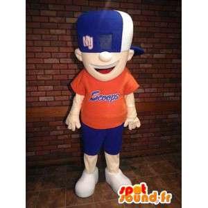 Chłopiec maskotka w kolorze niebieskim i pomarańczowym stroju