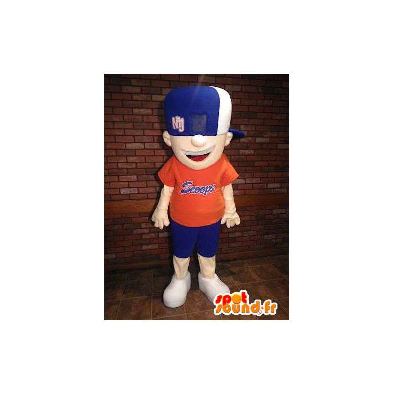 Mascot boy dressed in blue and orange - MASFR005702 - Mascots boys and girls