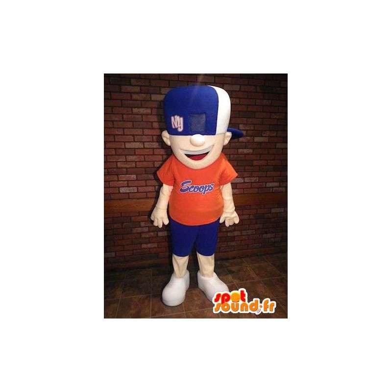 Mascot muchacho que sostiene azul y naranja - MASFR005702 - Chicas y chicos de mascotas