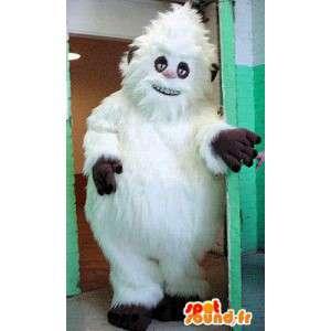 Mascotte wit yeti, allemaal behaard. Costume Yeti