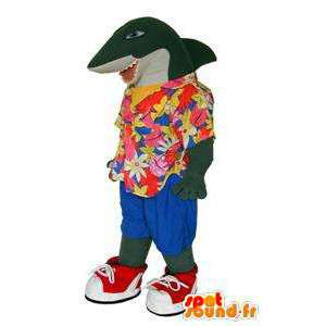 La mascota del tiburón en camisa hawaiana