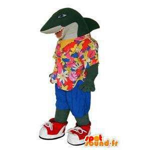Mascotte de requin en chemise hawaïenne