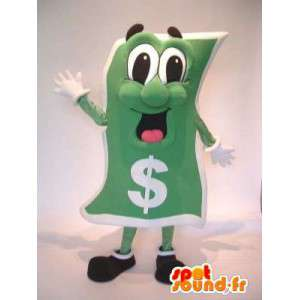 Mascot green dollar bill. Costume dollar