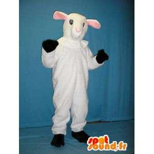 λευκό μασκότ προβάτων. λευκό κοστούμι πρόβατα