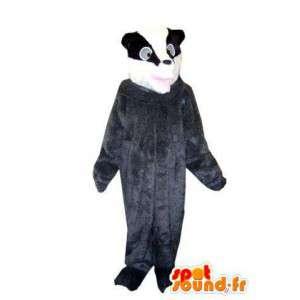 Mascotte de raton laveur gris, noir et blanc