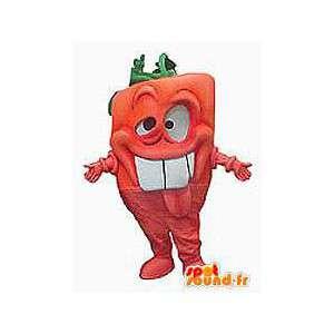 Mascotte de carotte orange, rigolote. Costume de carotte