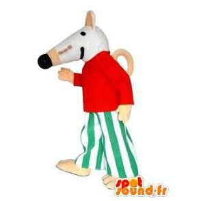 Mascotte de souris blanche habillée. Costume de souris - MASFR005726 - Mascotte de souris