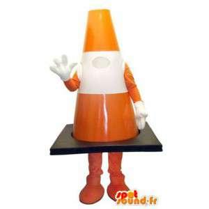 Mascotte de plot orange et blanc de taille géante