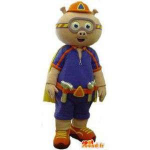 Schwein-Maskottchen verkleidet Arbeiter - MASFR005733 - Maskottchen Schwein