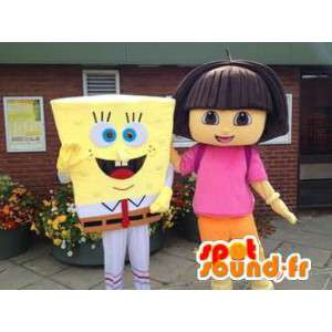 Mascot SpongeBob and Dora the Explorer - MASFR005744 - Mascots Sponge Bob