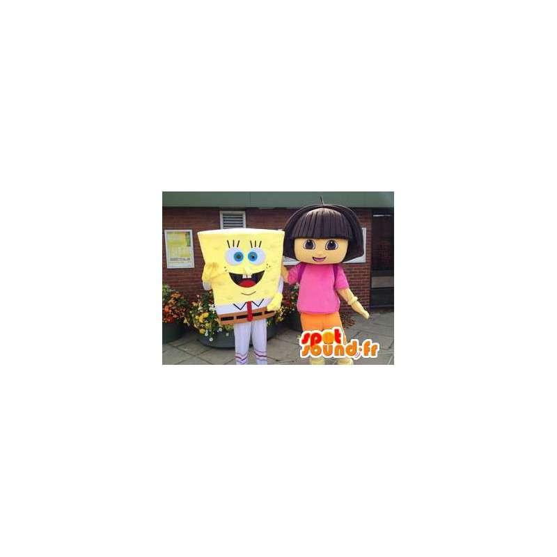 Mascotte de Bob l'éponge et de Dora l'exploratrice - MASFR005744 - Mascottes Bob l'éponge