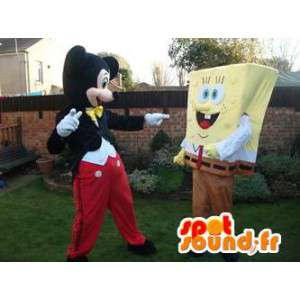 Mascottes de Bob l'éponge, et de Mickey. Pack de 2 mascottes